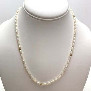 """14K Gold Beads & Natural Pearl Strand 18"""" Necklace"""